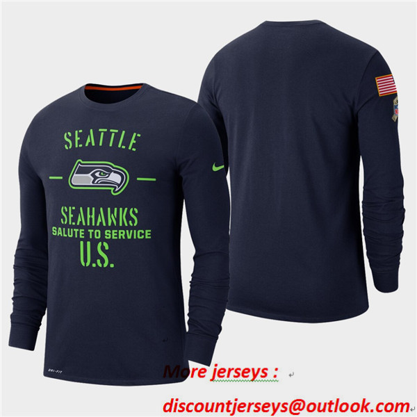 Men's Seahawks College Navy 2019 Salute to Service Sideline Long Sleeve T-Shirt