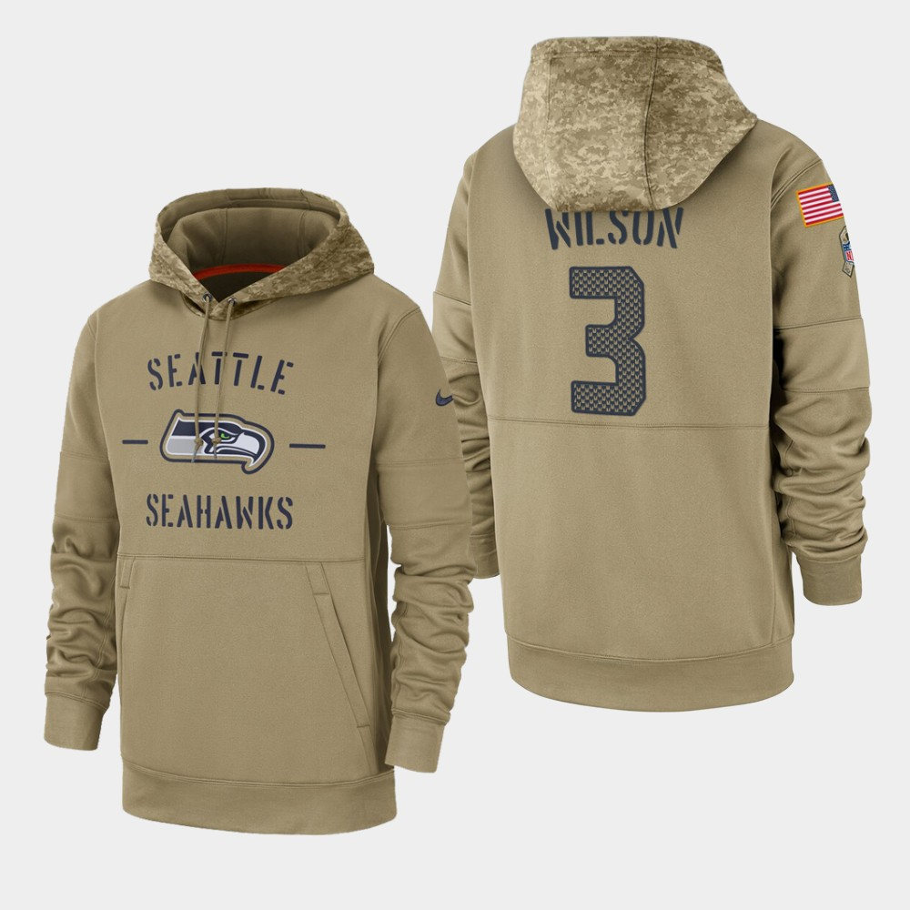 Men's Seattle Seahawks Russell Wilson 2019 Salute to Service Sideline Therma Pullover Hoodie - Tan