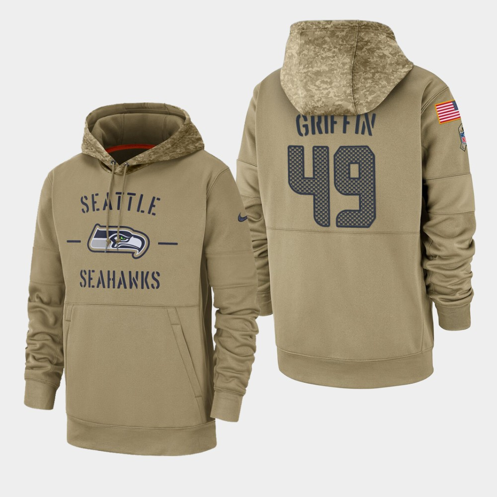 Men's Shaquem Griffin Seattle Seahawks 2019 Salute to Service Sideline Therma Pullover Hoodie - Tan