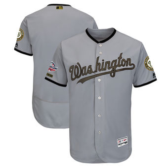 f5d0692d1 Men s Washington Nationals Majestic Gray 2018 Memorial Day Authentic  Collection Flex Base Team Custom Jersey