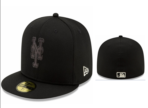 Mets Team Logo Black Fitted Hat LX