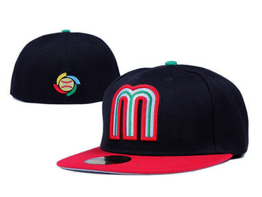 Mexico Baseball World Baseball Classic Fitted Hat Black red--LX