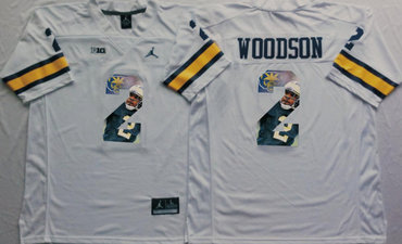 Michigan Wolverines 2 Charles Woodson White Portrait Number College Jersey