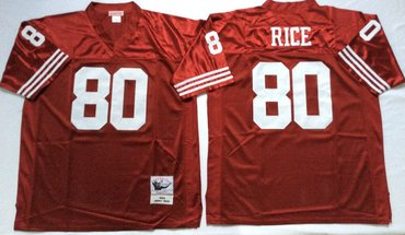 on sale af9bb 5b772 Mitchell And Ness 49ers #80 Jerry Rice red Men's Throwback ...