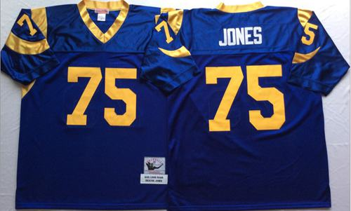 Mitchell And Ness Rams #75 Deacon Jones Blue Throwback Stitched NFL Jersey
