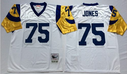 Mitchell And Ness Rams #75 Deacon Jones White Throwback Stitched NFL Jersey