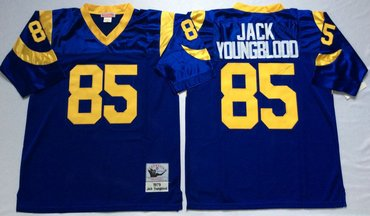 Mitchell And Ness Rams #85 Jack Youngblood Blue Throwback Stitched NFL Jersey