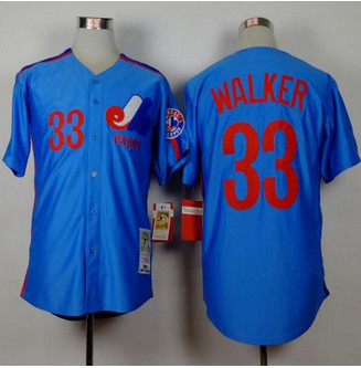 Mitchell and Ness Montreal Expos #33 Larry Walker Blue Stitched Throwback Baseball Jersey
