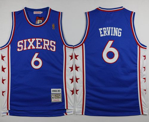 Mitchell and Ness Philadelphia 76ers  6 Julius Erving Stitched Blue  Throwback NBA Jersey 6877abf7e7