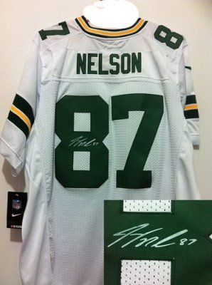 NEW NFL Green Bay Packers 87 Jordy Nelson White Signed Jerseys-Elite 9a9385fa0