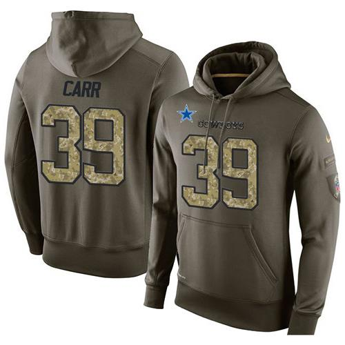 983925e57 NFL Men s Nike Dallas Cowboys  39 Brandon Carr Stitched Green Olive Salute  To Service KO Performance Hoodie
