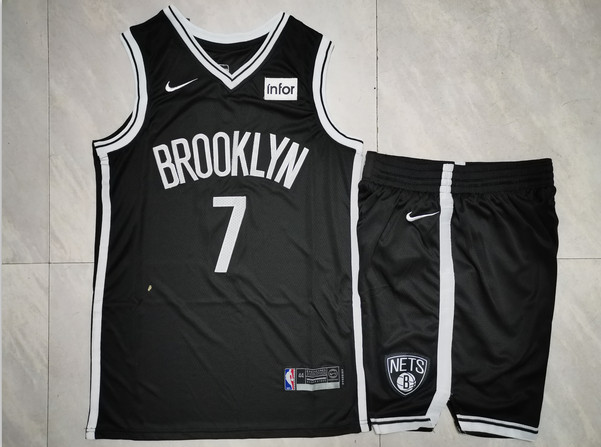 Nets 7 Kevin Durant Black Nike Swingman Jersey(With Shorts)