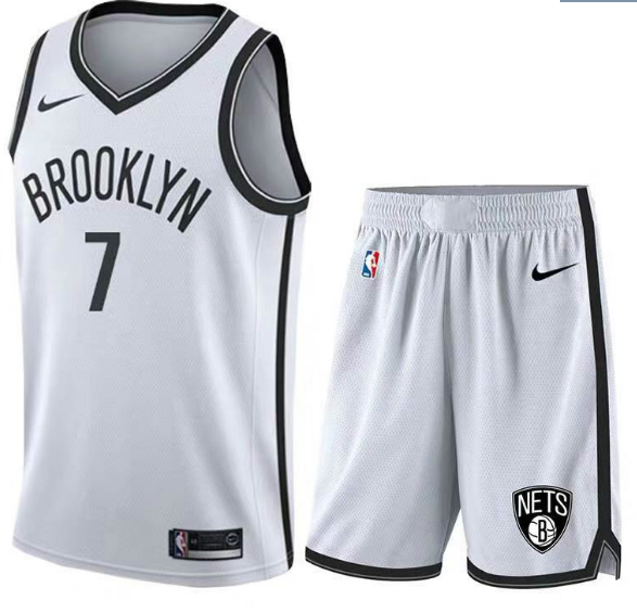 Nets 7 Kevin Durant White Nike Swingman Jersey(With Shorts)