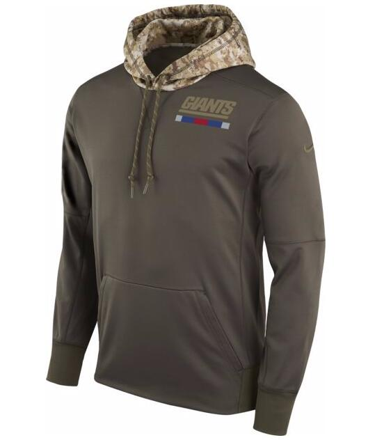 78801c4c1d9f New York Giants Nike Salute To Service Sideline Therma Pullover Hoodie Olive