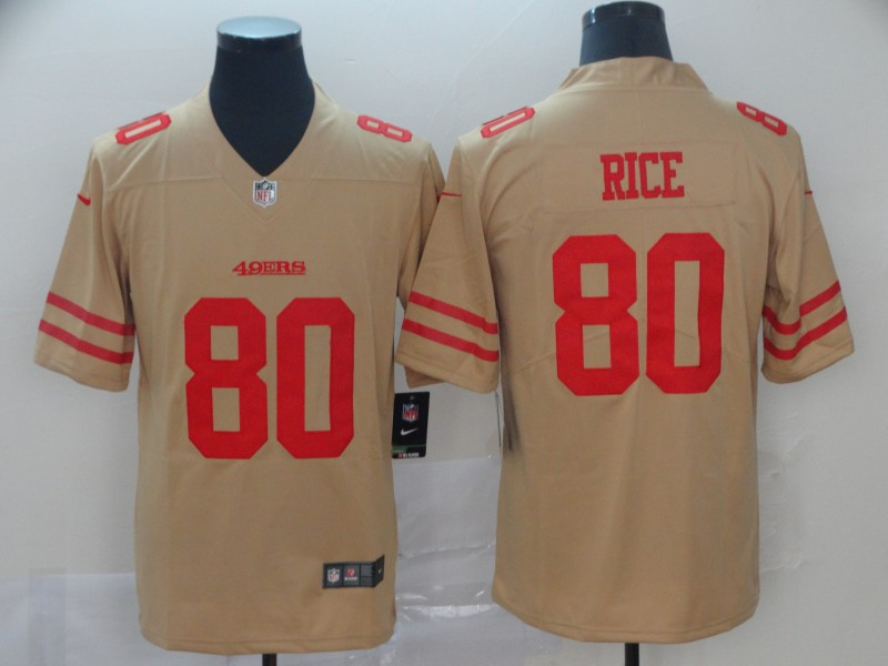 Nike 49ers 80 Jerry Rice Cream Inverted Legend Limited Jersey