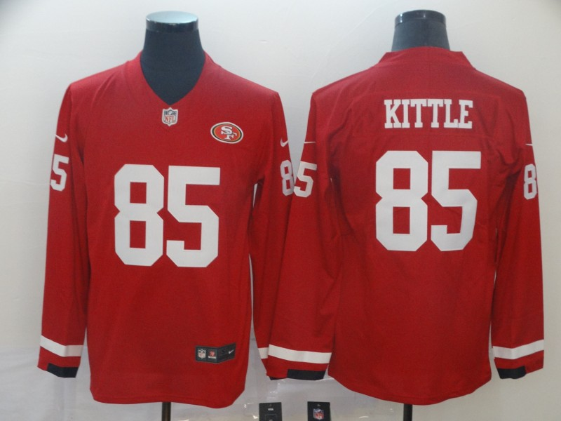 Nike 49ers 85 George Kittle Red Therma Long Sleeve Jersey