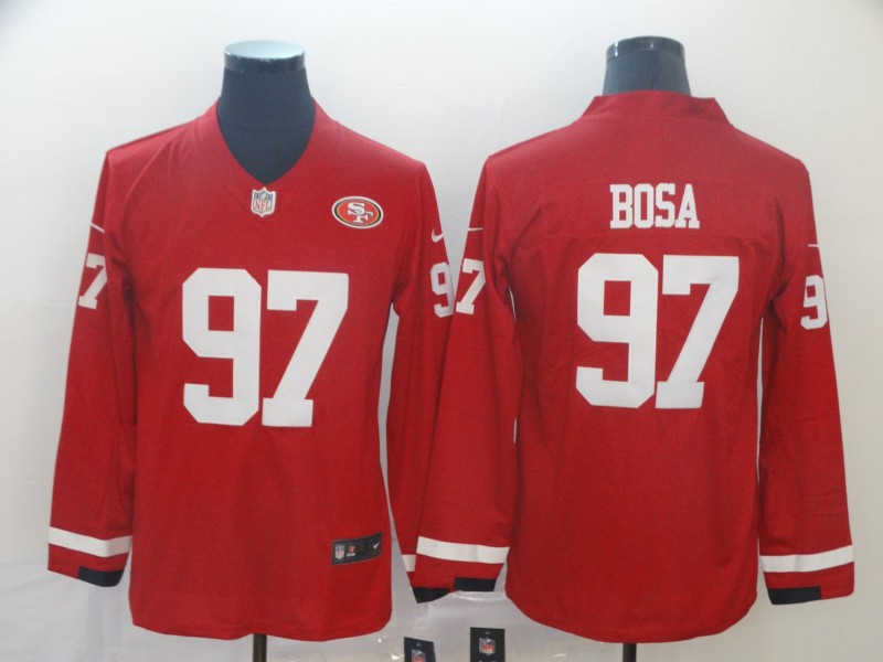 Nike 49ers 97 Nick Bosa Red Therma Long Sleeve Jersey