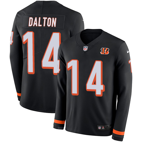 Nike Bengals #14 Andy Dalton Black Team Color Men's Stitched NFL Limited Therma Long Sleeve Jersey