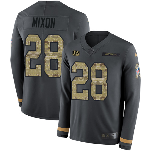 Nike Bengals #28 Joe Mixon Anthracite Salute to Service Men's Stitched NFL Limited Therma Long Sleeve Jersey