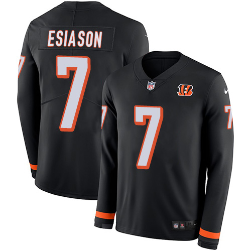 Nike Bengals #7 Boomer Esiason Black Team Color Men's Stitched NFL Limited Therma Long Sleeve Jersey