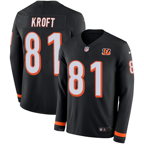 Nike Bengals #81 Tyler Kroft Black Team Color Men's Stitched NFL Limited Therma Long Sleeve Jersey
