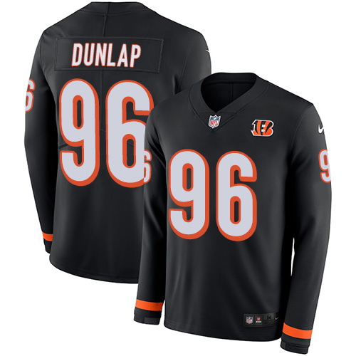 Nike Bengals #96 Carlos Dunlap Black Team Color Men's Stitched NFL Limited Therma Long Sleeve Jersey