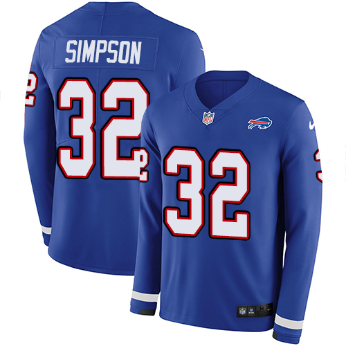 Nike Bills #32 O. J. Simpson Royal Blue Team Color Men's Stitched NFL Limited Therma Long Sleeve Jersey