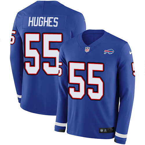 Nike Bills #55 Jerry Hughes Royal Blue Team Color Men's Stitched NFL Limited Therma Long Sleeve Jersey
