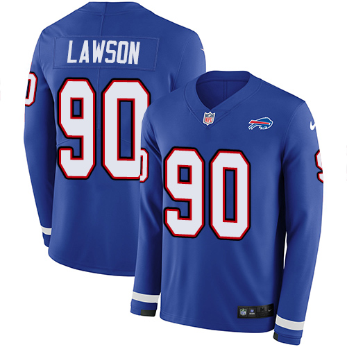 Nike Bills #90 Shaq Lawson Royal Blue Team Color Men's Stitched NFL Limited Therma Long Sleeve Jersey