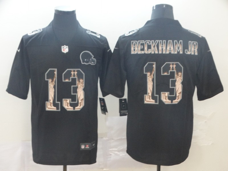 Nike Browns 13 Odell Beckham Jr. Black Statue Of Liberty Limited Jersey