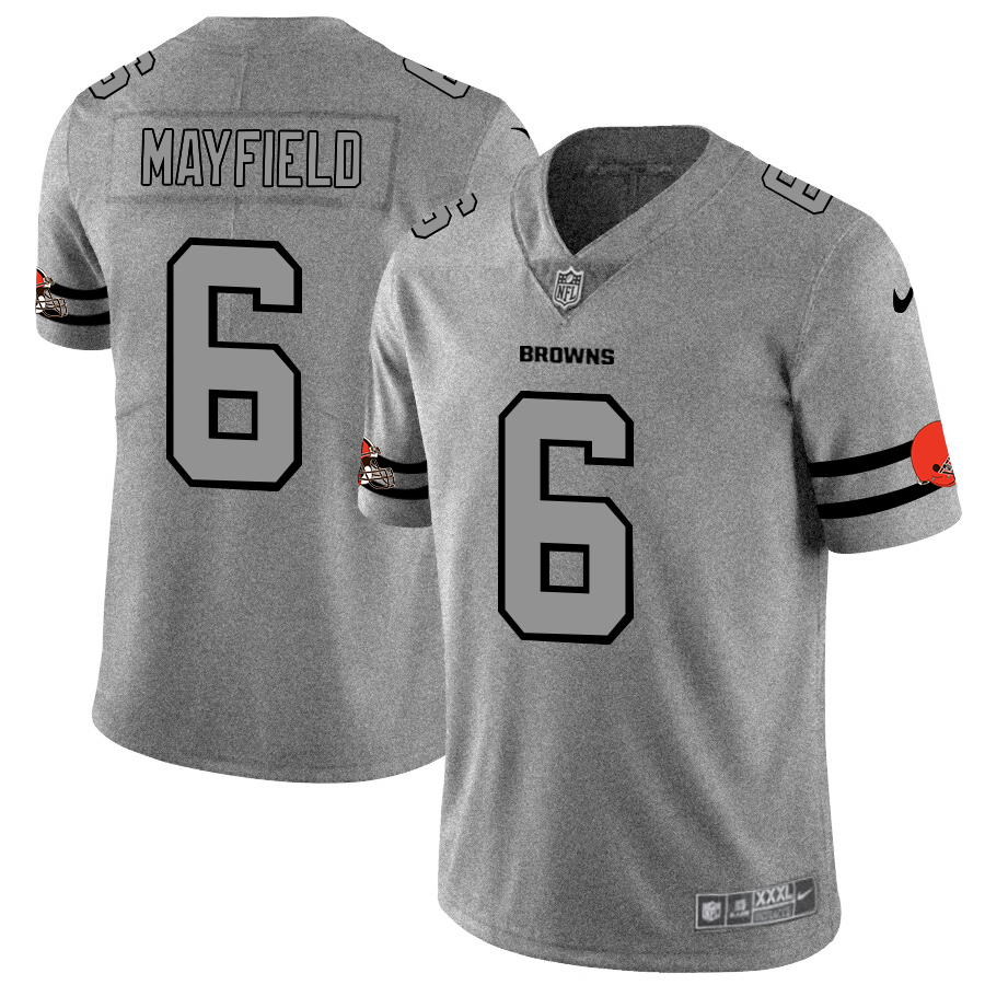 Nike Browns 6 Baker Mayfield 2019 Gray Gridiron Gray Vapor Untouchable Limited Jersey