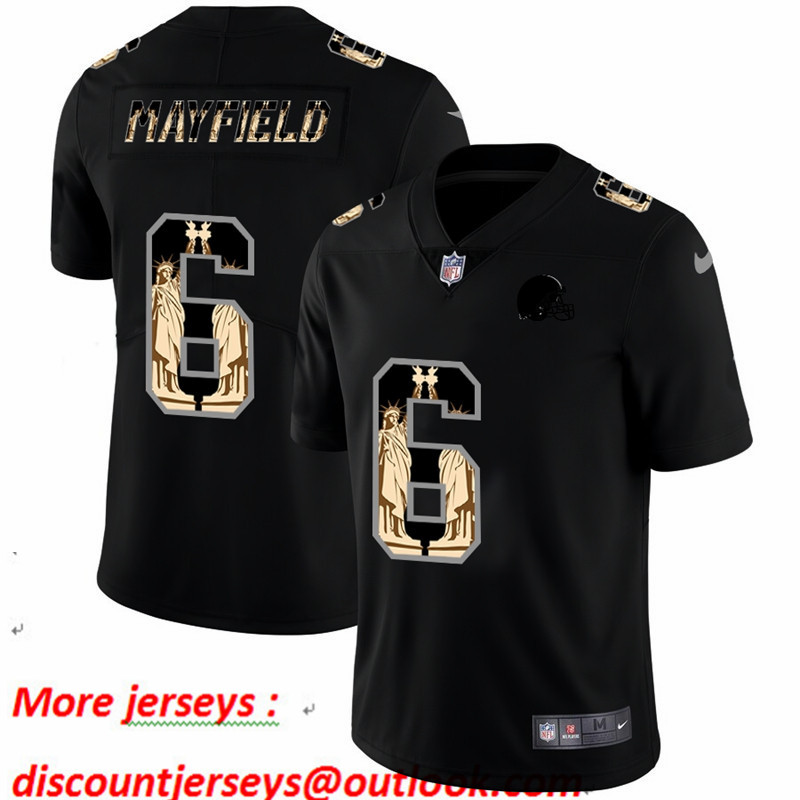 Nike Browns 6 Baker Mayfield Black Statue Of Liberty Limited Jersey