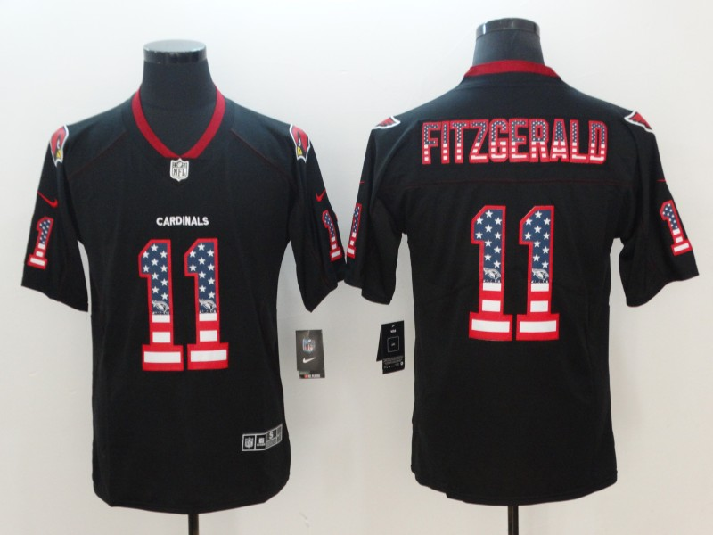 edfdc3934 Nike Cardinals 11 Larry Fitzgerald Black USA Flag Fashion Color Rush  Limited Jersey