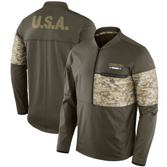 c53cf8942fe Nike Chargers Olive Salute to Service Sideline Hybrid Half-Zip Pullover  Jacket