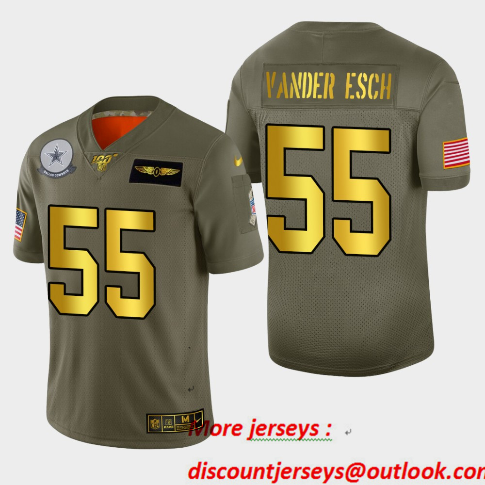 Nike Cowboys 55 Leighton Vander Esch 2019 Olive Gold Salute To Service 100th Season Limited Jersey