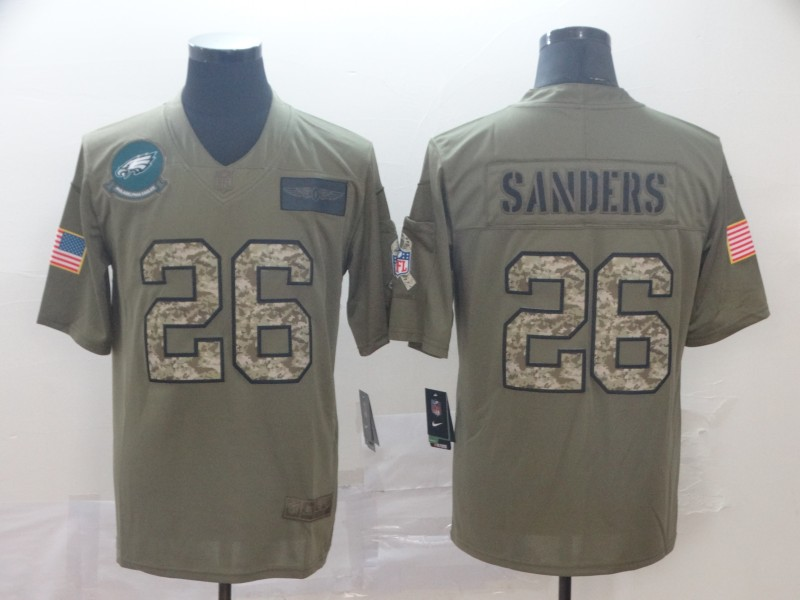 Nike Eagles 26 Miles Sanders 2019 Olive Camo Salute To Service Limited Jersey