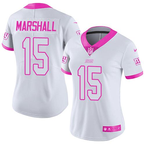 Nike Giants  15 Brandon Marshall White Pink Women s Stitched NFL Limited  Rush Fashion Jersey 28d1159cf