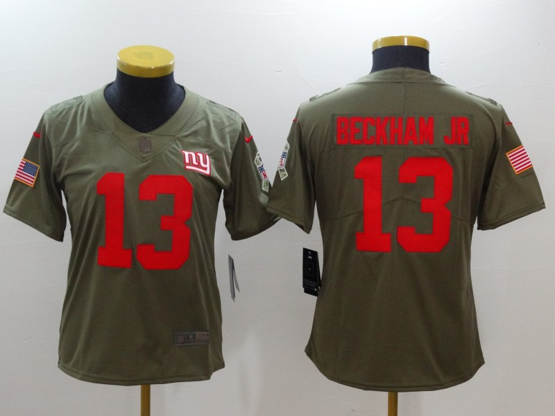 Nike Giants 13 Odell Beckham Jr. Women Olive Salute To Service Limited  Jersey eb08084ea