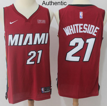 online store 2e63b 7b55d Nike Heat #21 Hassan Whiteside Red NBA Authentic Statement ...