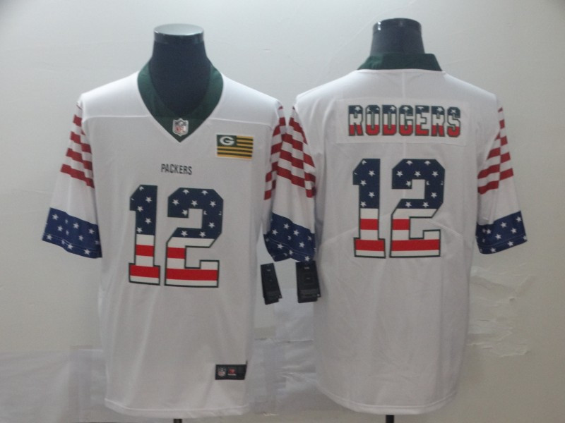 Nike Packers 12 Aaron Rodgers White USA Flag Fashion Limited Jersey