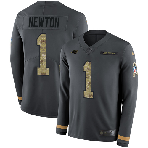 Nike Panthers #1 Cam Newton Anthracite Salute to Service Men's Stitched NFL Limited Therma Long Sleeve Jersey