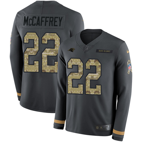 Nike Panthers #22 Christian McCaffrey Anthracite Salute to Service Men's Stitched NFL Limited Therma Long Sleeve Jersey