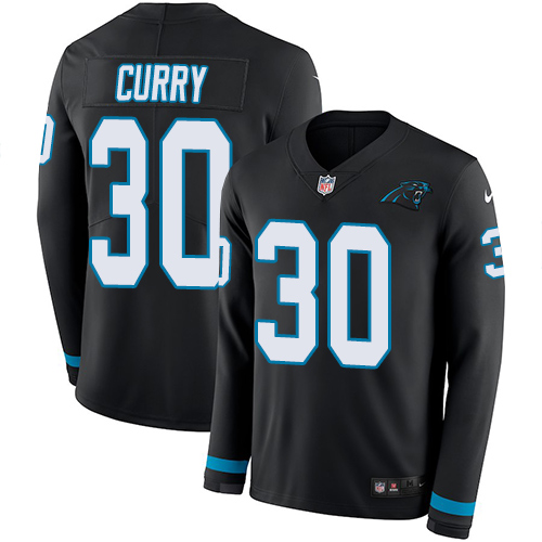 Nike Panthers #30 Stephen Curry Black Team Color Men's Stitched NFL Limited Therma Long Sleeve Jersey