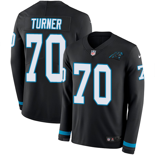 Nike Panthers #70 Trai Turner Black Team Color Men's Stitched NFL Limited Therma Long Sleeve Jersey