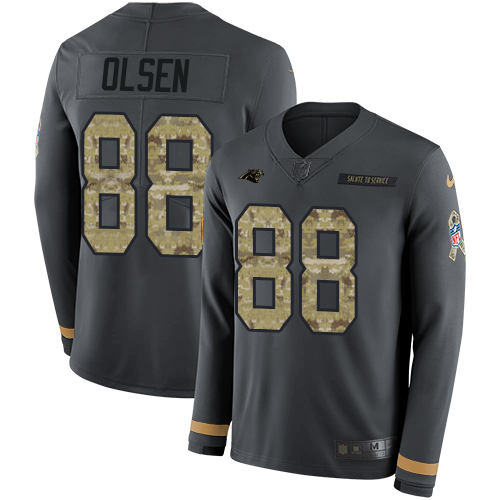 Nike Panthers #88 Greg Olsen Anthracite Salute to Service Men's Stitched NFL Limited Therma Long Sleeve Jersey