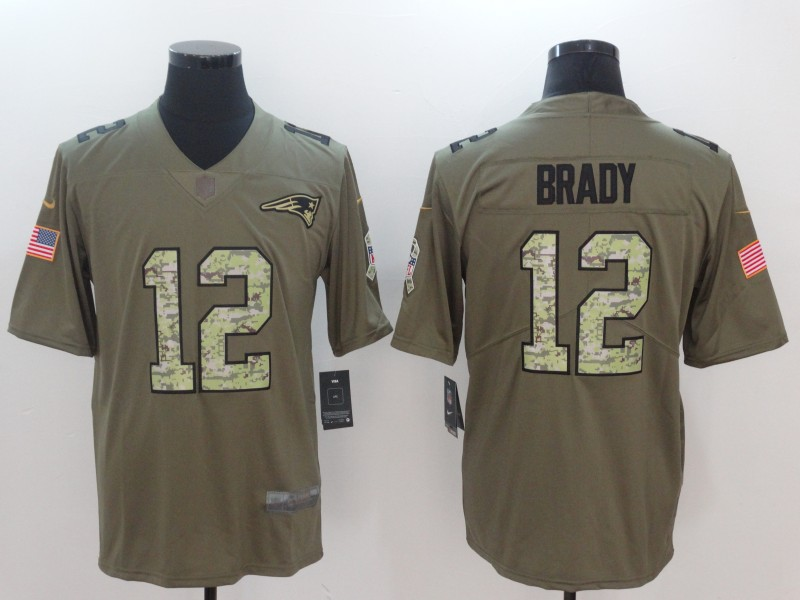 Cheap Nike Patriots 12 Tom Brady Olive Camo Salute To Service Limited Jersey