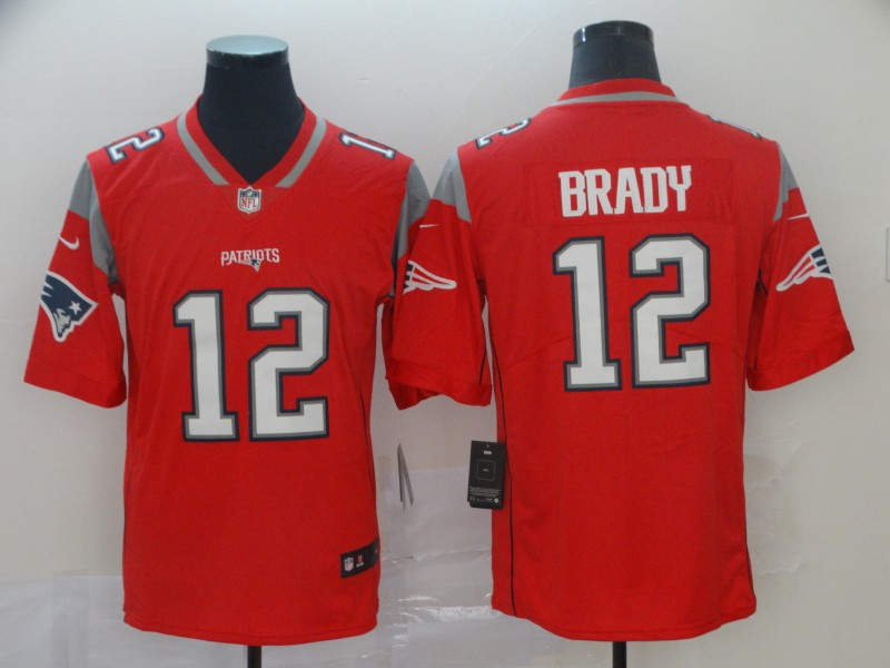 Nike Patriots 12 Tom Brady Red Inverted Legend Limited Jersey