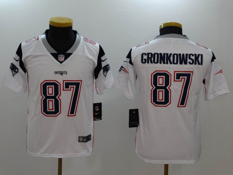 65c8214a5 Nike Patriots 87 Rob Gronkowski White Youth Vapor Untouchable Player  Limited Jersey