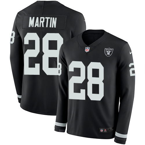 0ea9eef5c81 Nike Raiders #28 Doug Martin Black Team Color Men's Stitched NFL Limited  Therma Long Sleeve Jersey