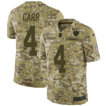 Nike Raiders  4 Derek Carr Camo Men s Stitched NFL Limited 2018 Salute To Service  Jersey d8fc72892